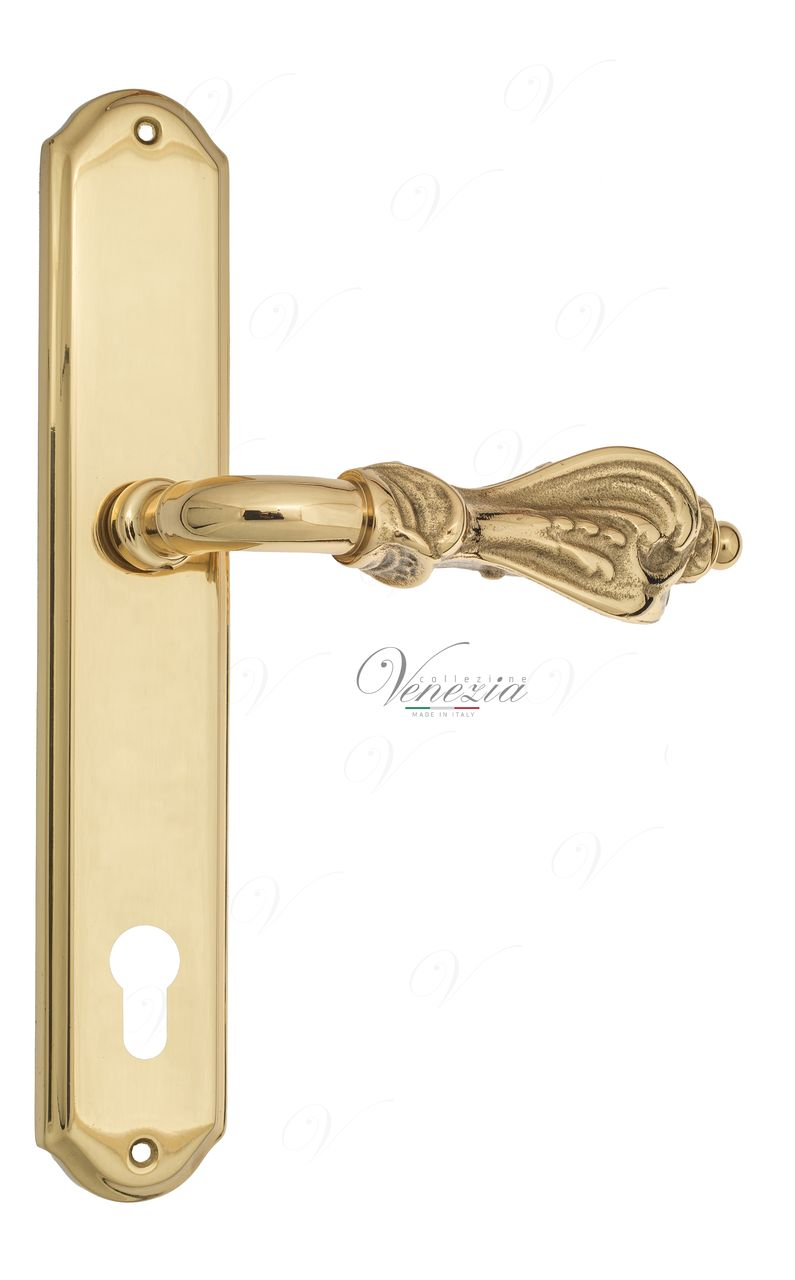 Door Handle Venezia  FLORENCE  CYL On Backplate PL02 Polished Brass