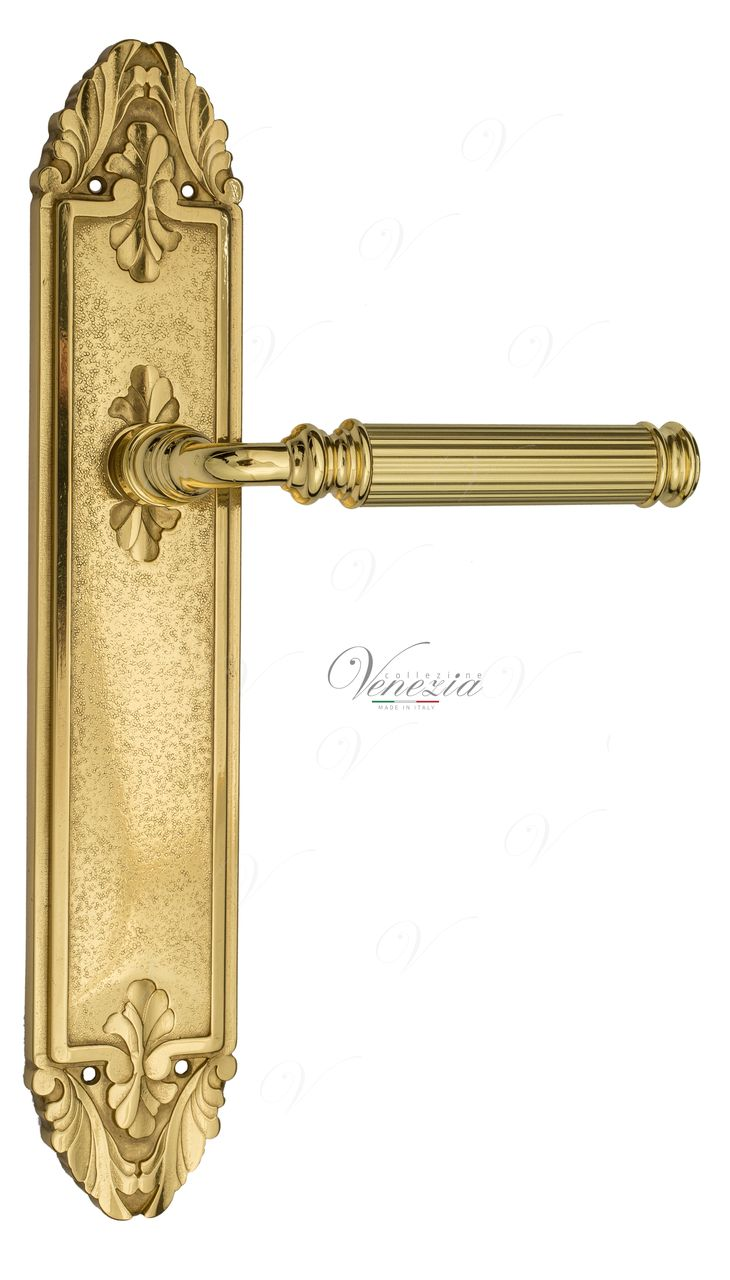 Door Handle Venezia  MOSCA  WC-2 On Backplate PL90 Polished Brass