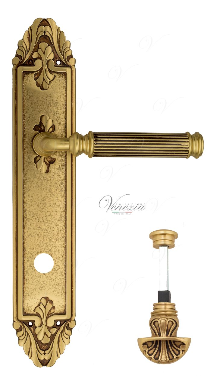 Door Handle Venezia  MOSCA  WC-4 On Backplate PL90 French Gold + Brown