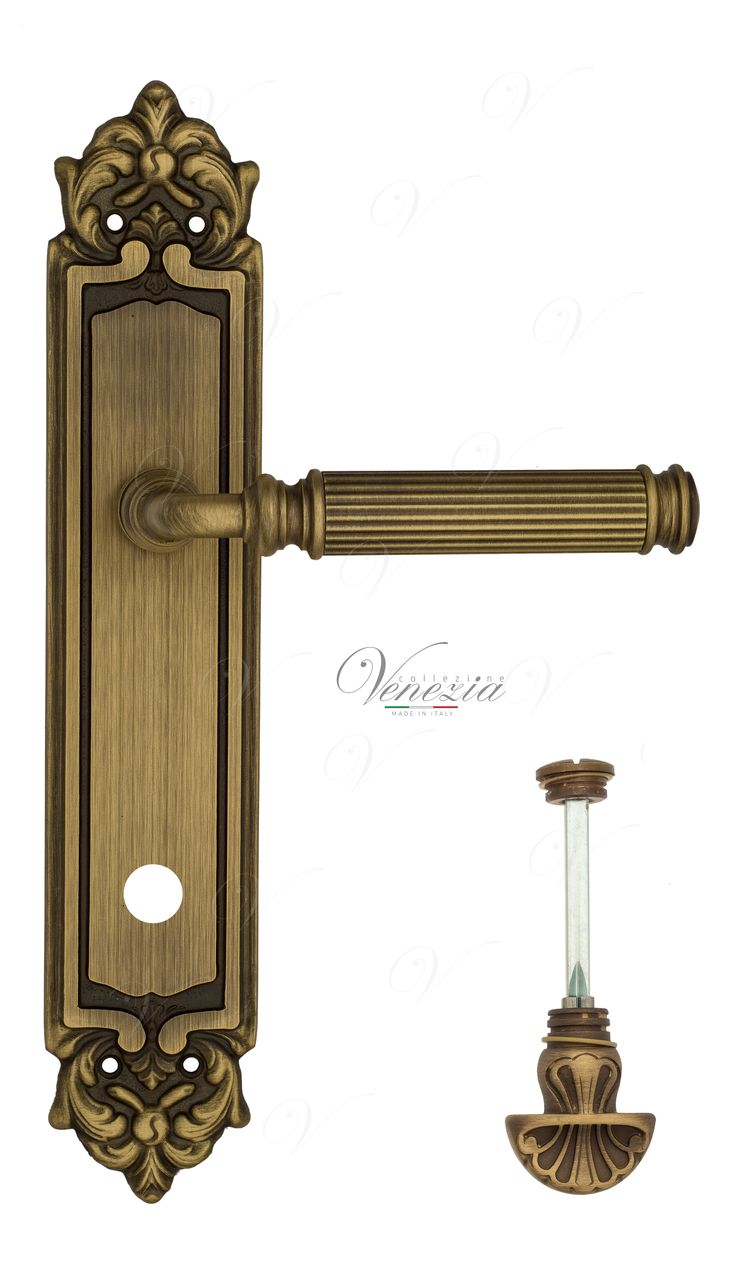 Door Handle Venezia  MOSCA  WC-4 On Backplate PL96 Mat Bronze