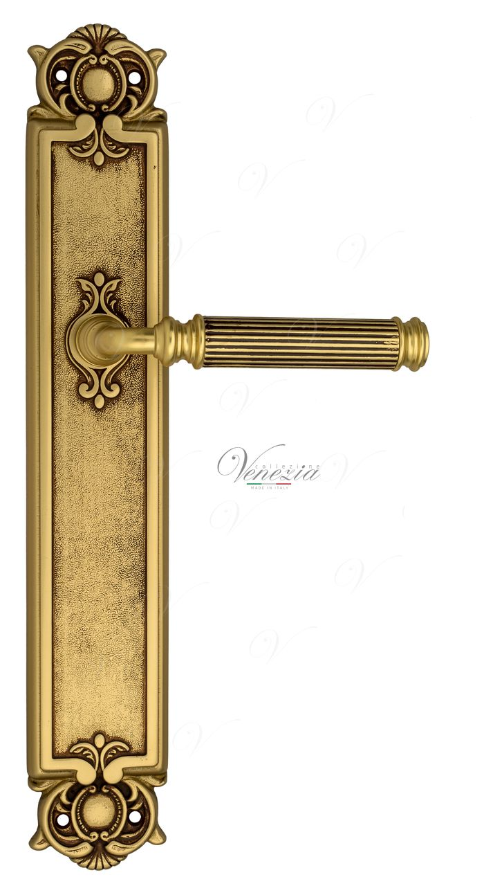 Door Handle Venezia  MOSCA  On Backplate PL97 French Gold + Brown