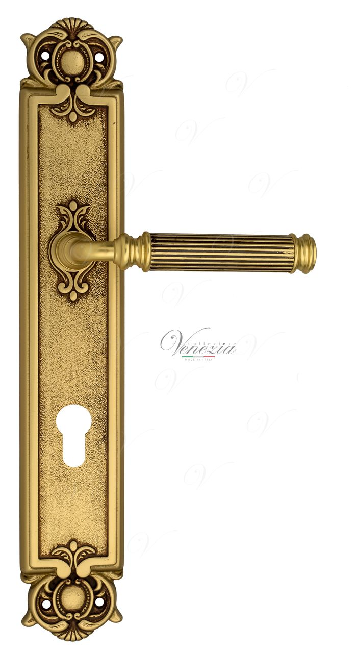 Door Handle Venezia  MOSCA  CYL On Backplate PL97 French Gold + Brown