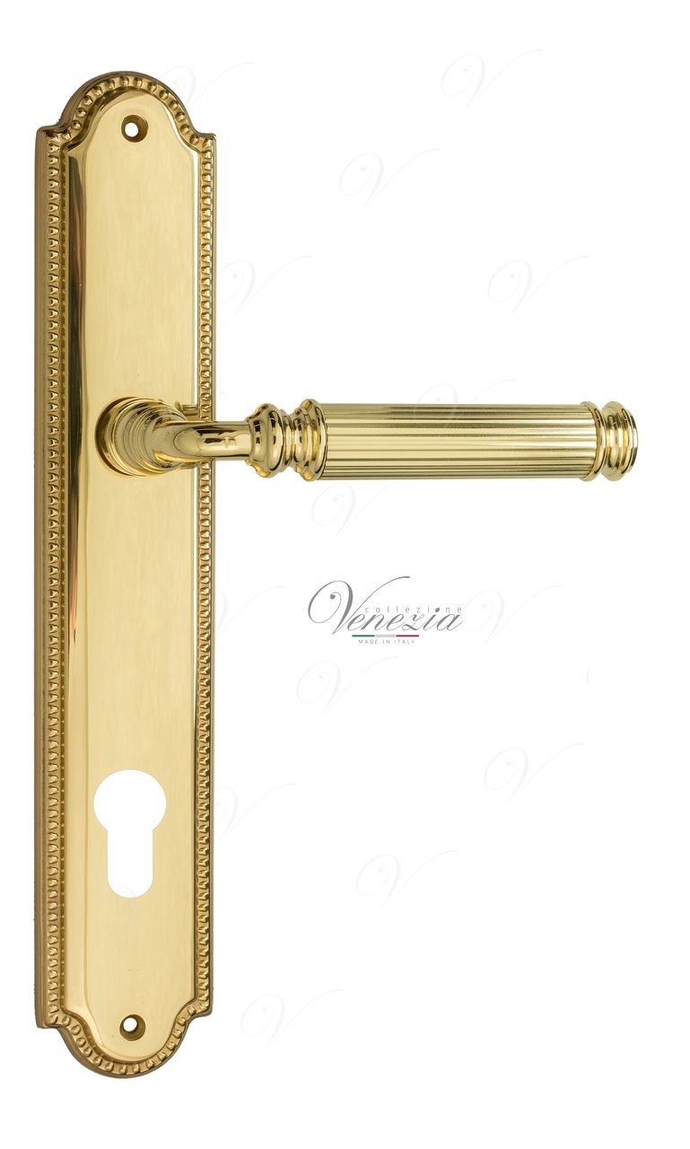 Door Handle Venezia  MOSCA  CYL On Backplate PL98 Polished Brass