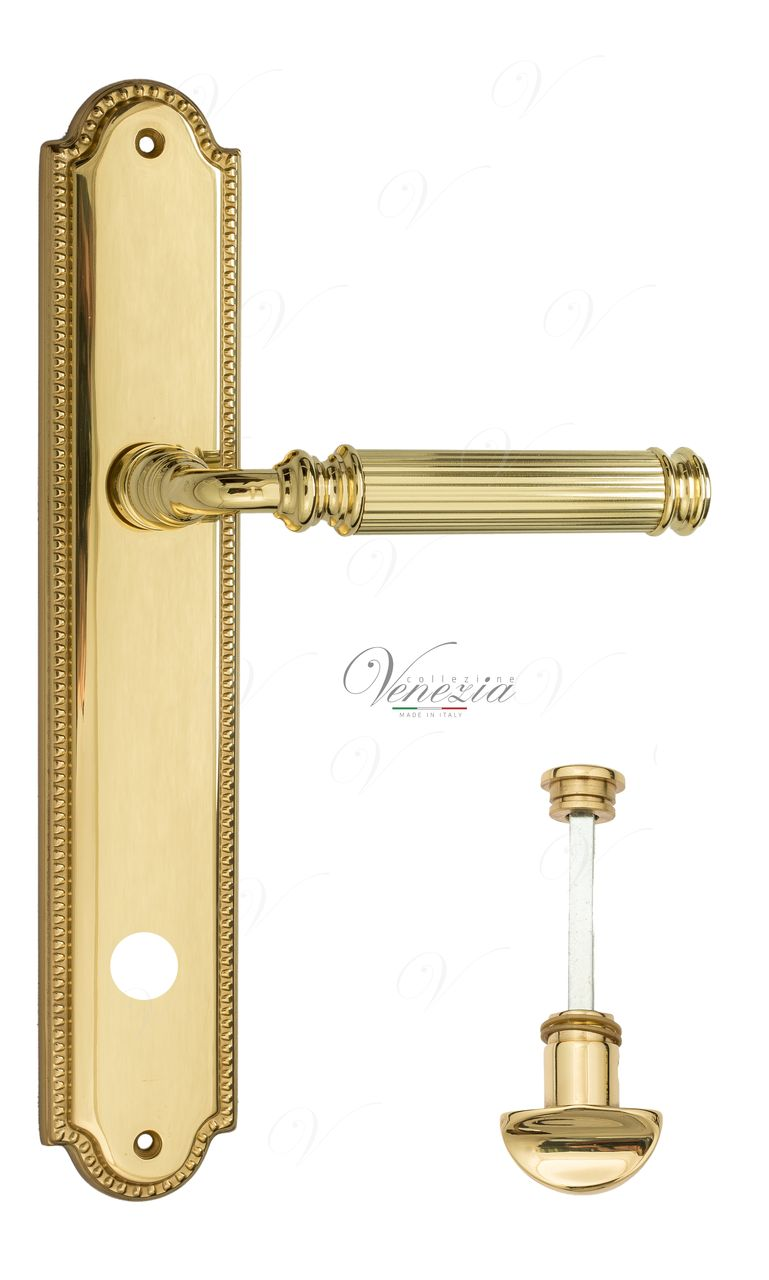 Door Handle Venezia  MOSCA  WC-2 On Backplate PL98 Polished Brass