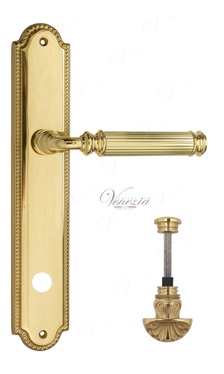 Door Handle Venezia  MOSCA  WC-4 On Backplate PL98 Polished Brass