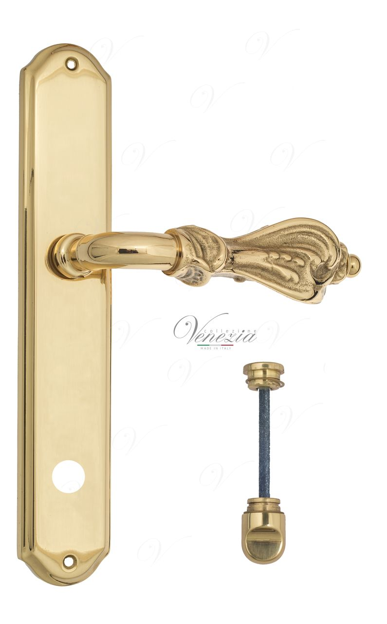 Door Handle Venezia  FLORENCE  WC-1 On Backplate PL02 Polished Brass