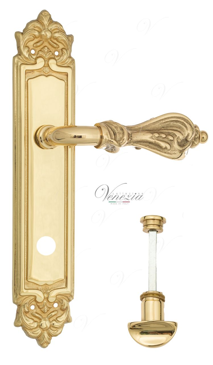 Door Handle Venezia  FLORENCE  WC-2 On Backplate PL96 Polished Brass