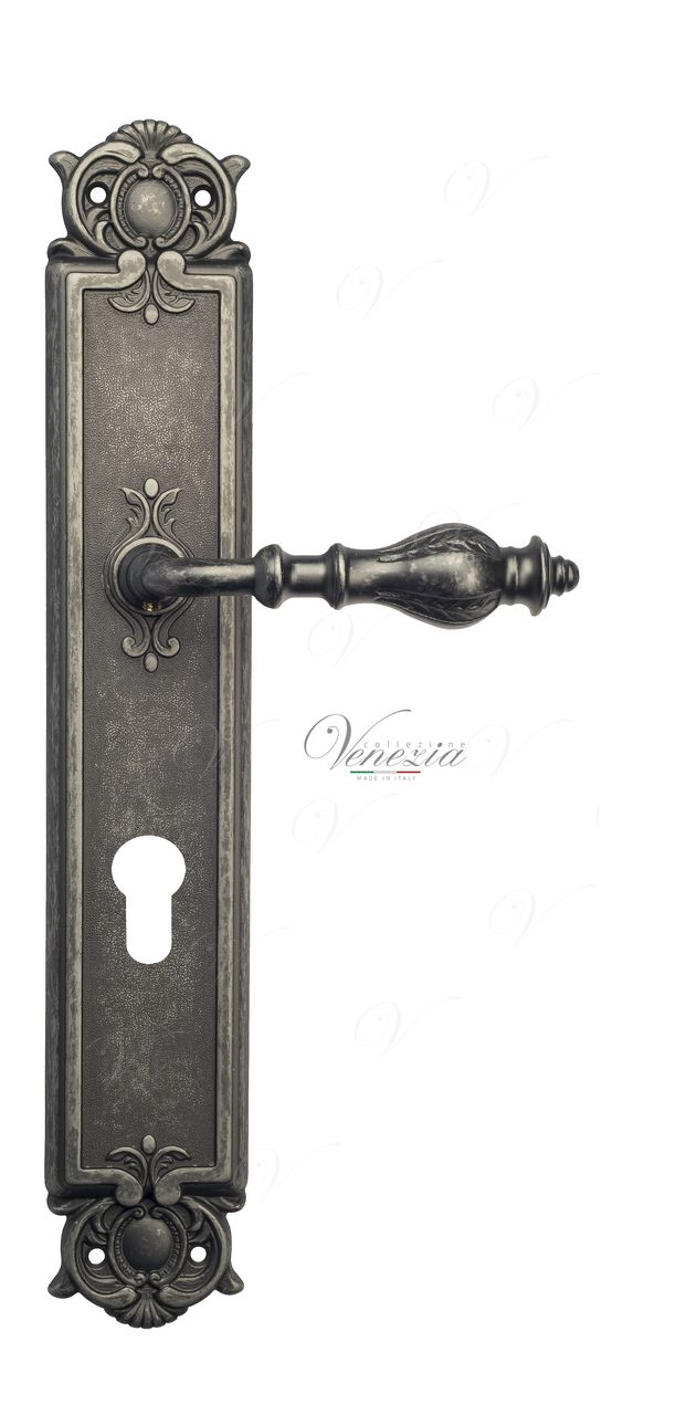 Door Handle Venezia  GIFESTION  CYL On Backplate PL97 Antique Silver