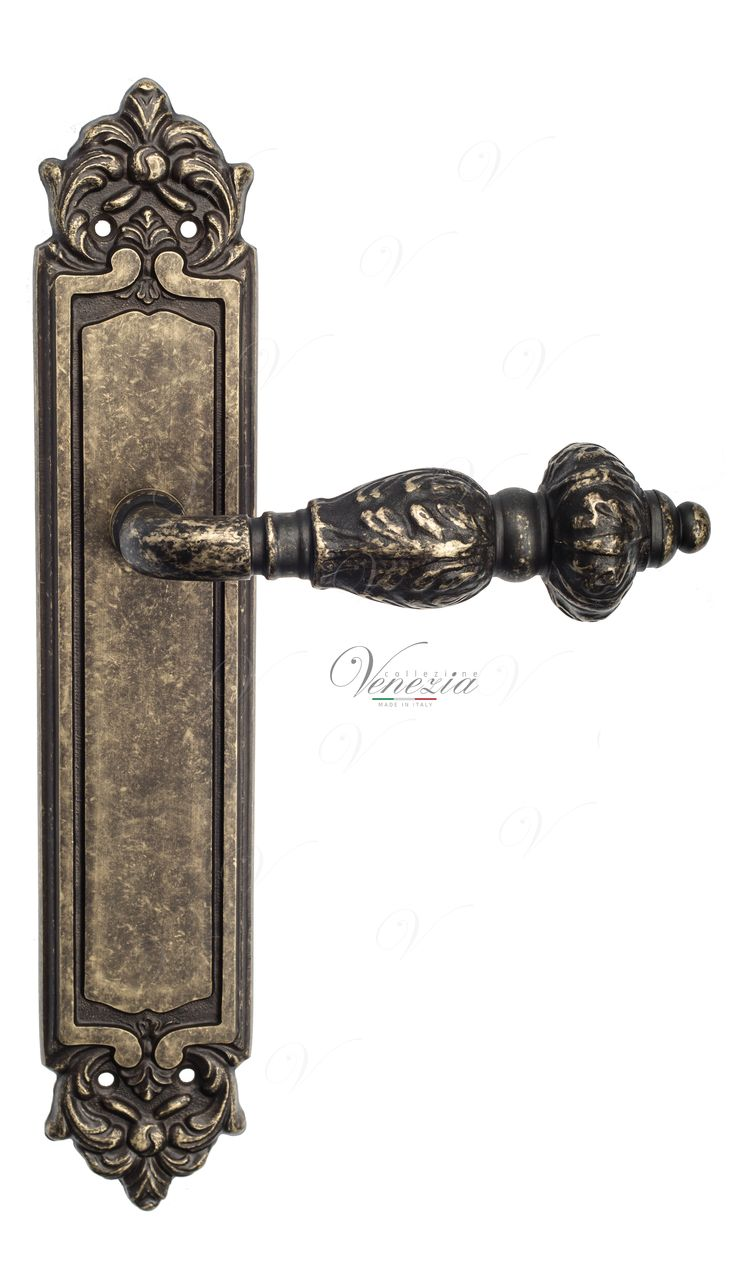 Door Handle Venezia  LUCRECIA  On Backplate PL96 Antique Bronze
