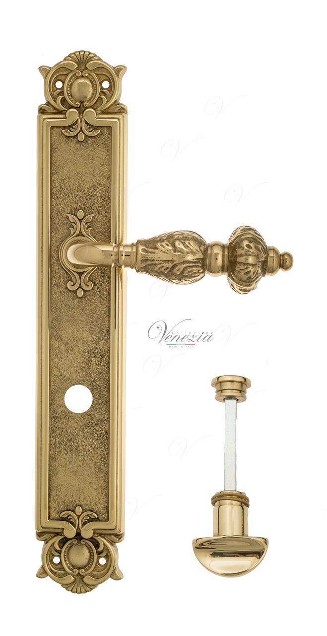 Door Handle Venezia  LUCRECIA  WC-2 On Backplate PL97 Polished Brass