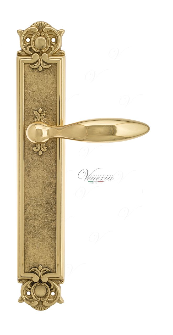 Door Handle Venezia  MAGGIORE  On Backplate PL97 Polished Brass
