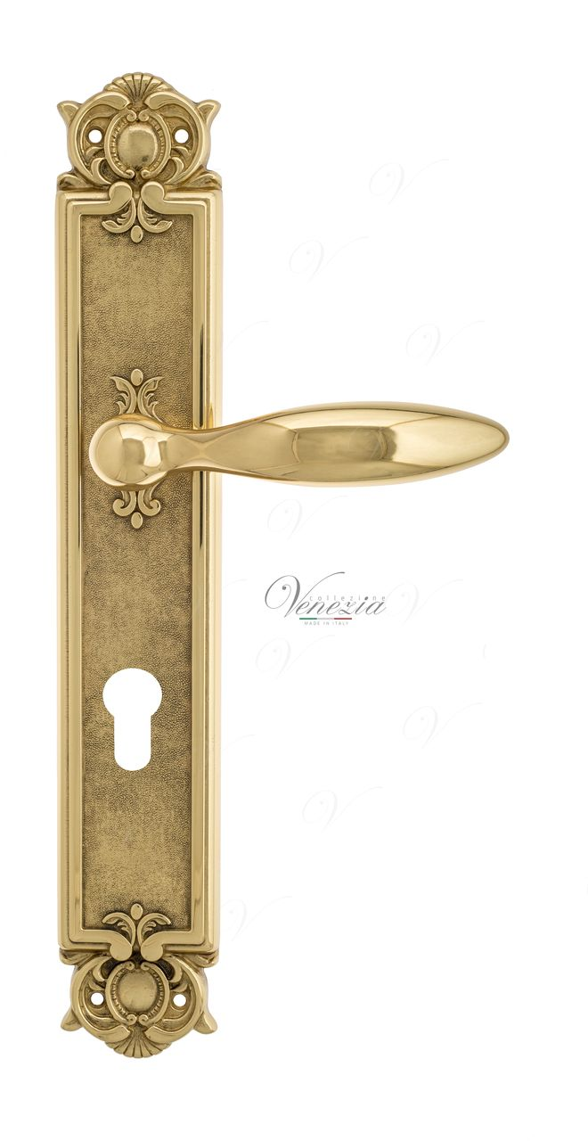 Door Handle Venezia  MAGGIORE  CYL On Backplate PL97 Polished Brass