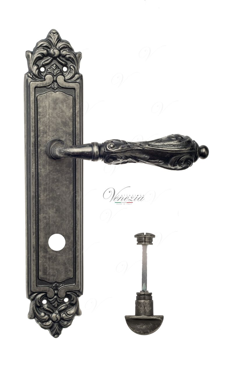 Door Handle Venezia  MONTE CRISTO  WC-2 On Backplate PL96 Antique Silver
