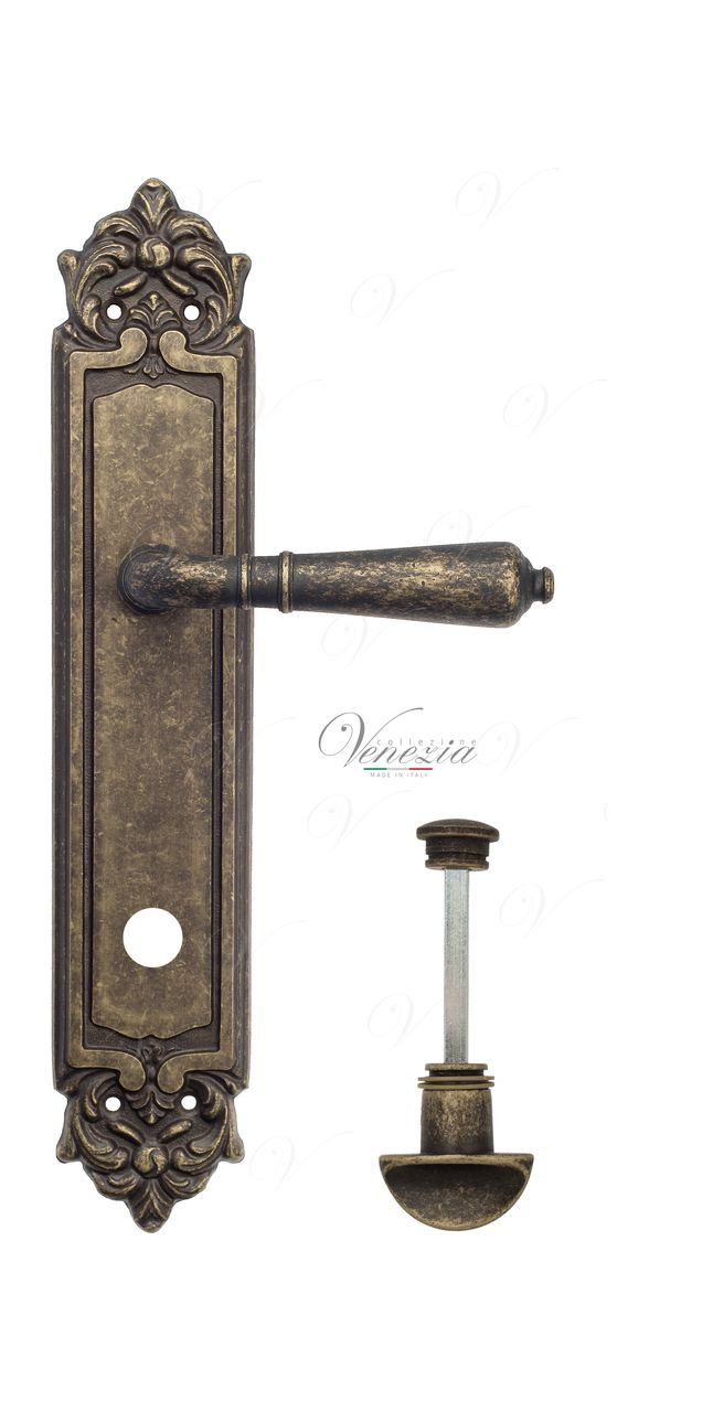 Door Handle Venezia  VIGNOLE  WC-2 On Backplate PL96 Antique Bronze