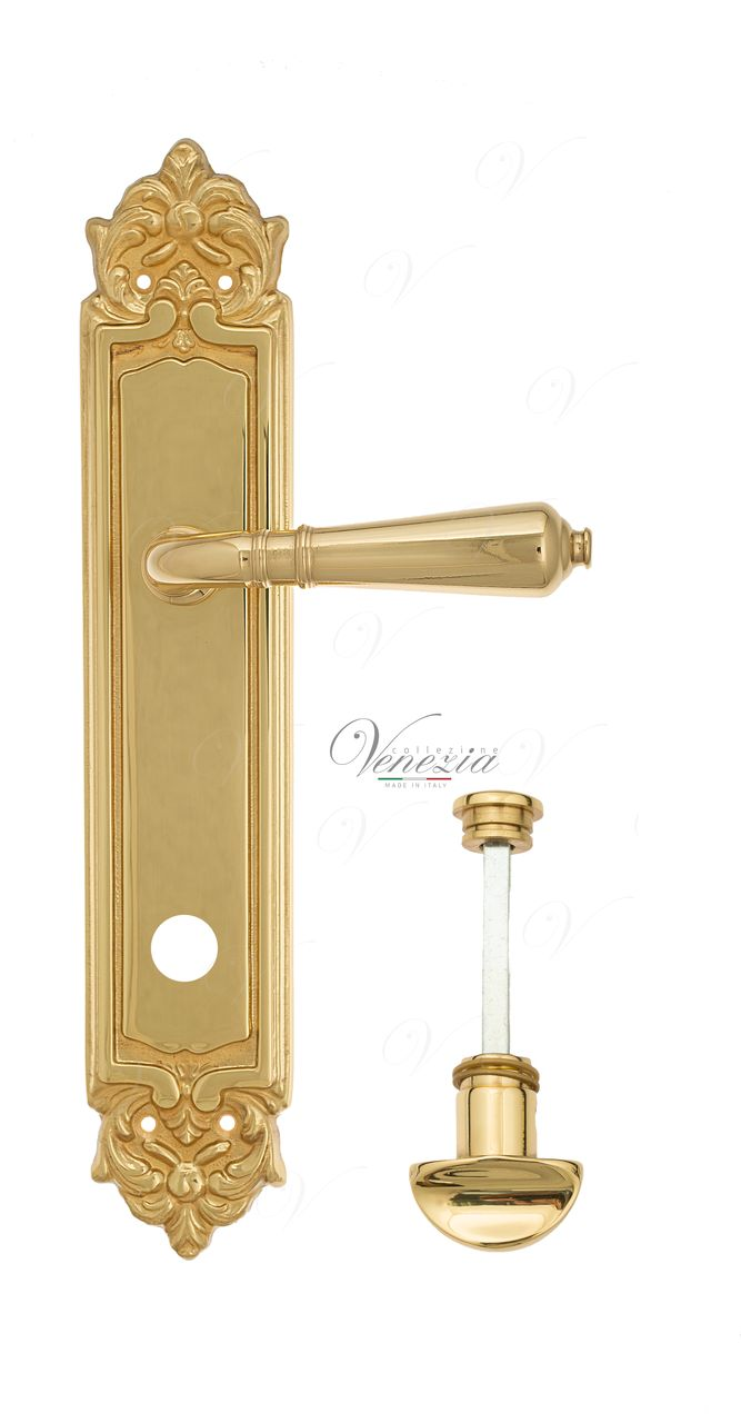 Door Handle Venezia  VIGNOLE  WC-2 On Backplate PL96 Polished Brass