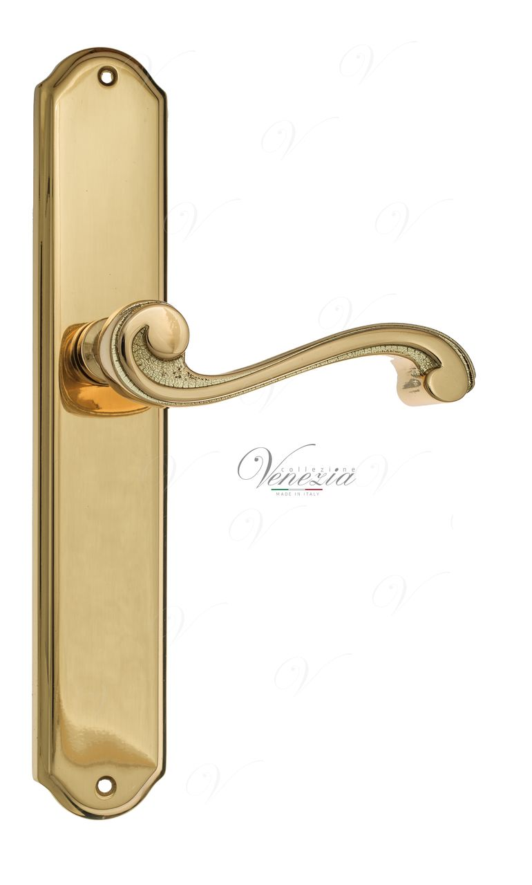 Door Handle Venezia  VIVALDI  On Backplate PL02 Polished Brass
