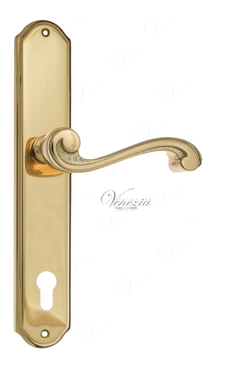 Door Handle Venezia  VIVALDI  CYL On Backplate PL02 Polished Brass