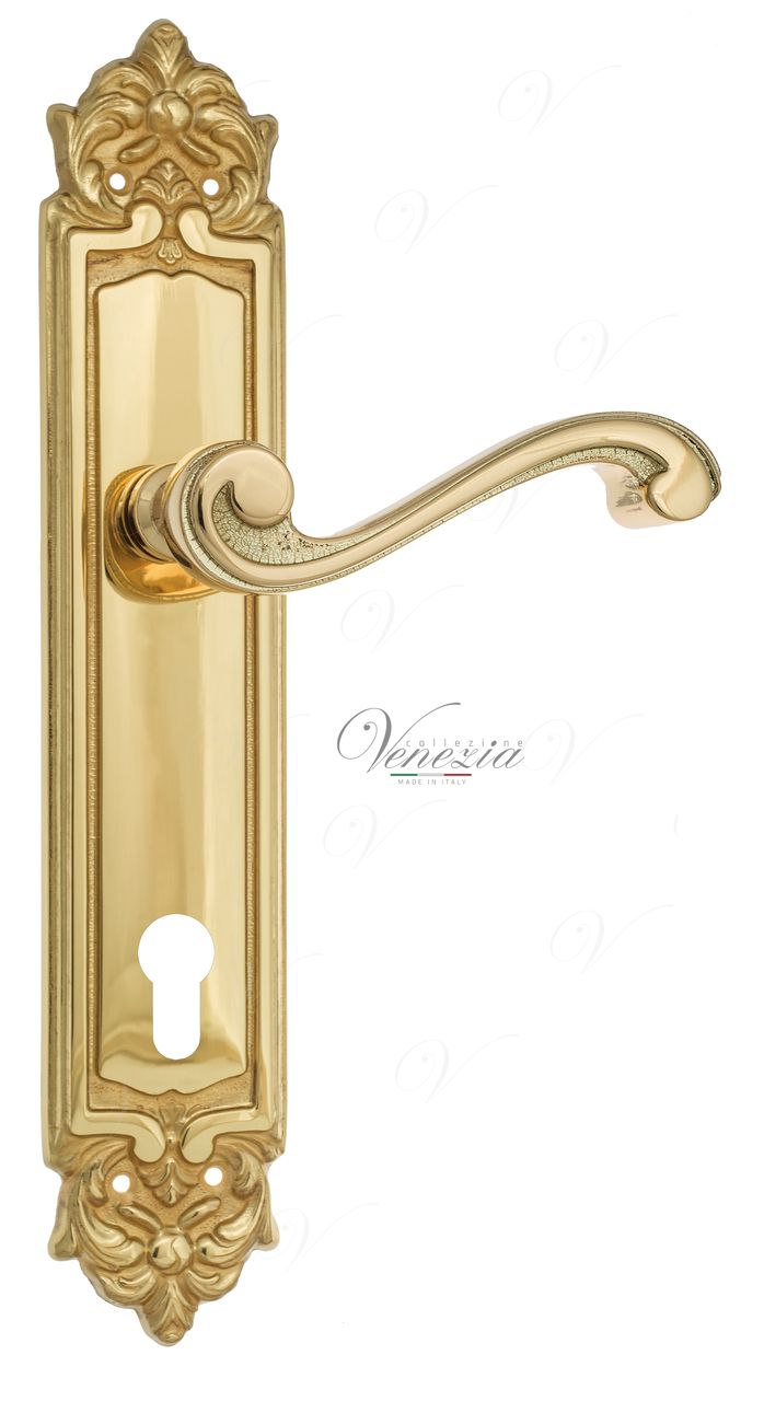 Door Handle Venezia  VIVALDI  CYL On Backplate PL96 Polished Brass