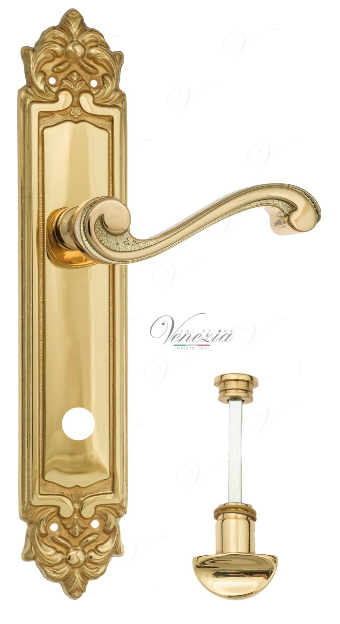Door Handle Venezia  VIVALDI  WC-2 On Backplate PL96 Polished Brass