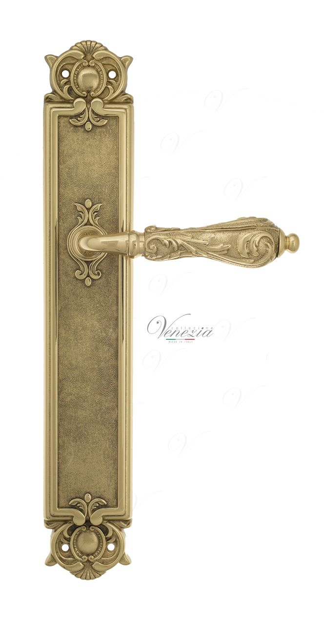 Door Handle Venezia  MONTE CRISTO  On Backplate PL97 Polished Brass