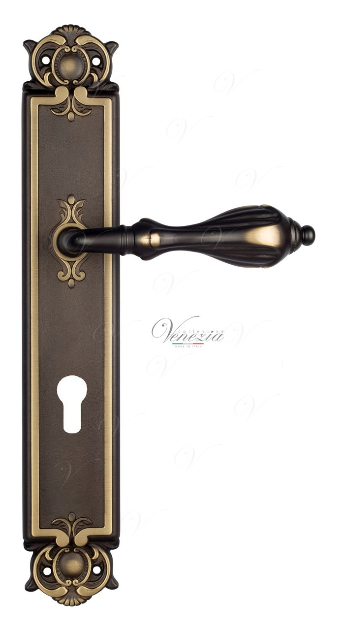 Door Handle Venezia  ANAFESTO  CYL On Backplate PL97 Dark Bronze