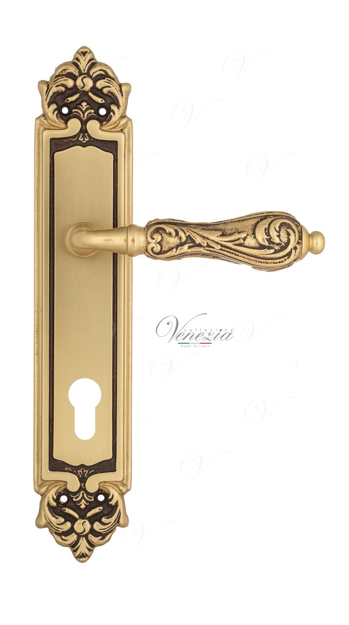 Door Handle Venezia  MONTE CRISTO  CYL On Backplate PL96 French Gold + Brown