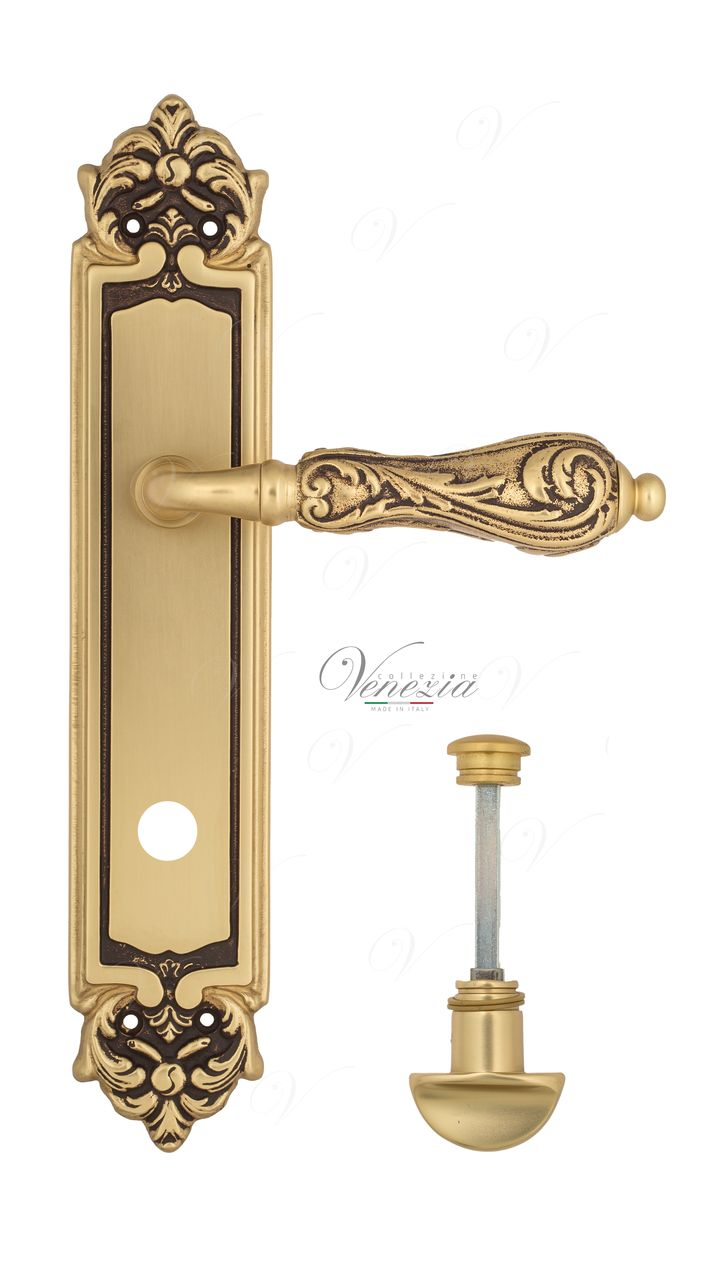 Door Handle Venezia  MONTE CRISTO  WC-2 On Backplate PL96 French Gold + Brown