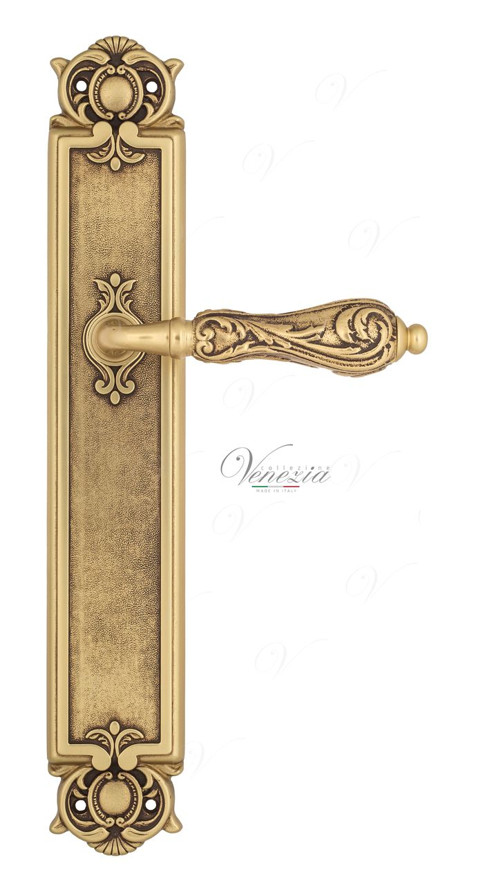 Door Handle Venezia  MONTE CRISTO  On Backplate PL97 French Gold + Brown